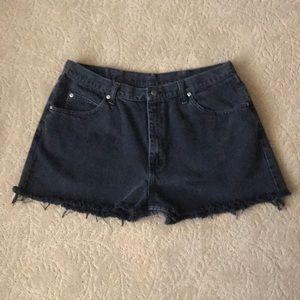 "High Waisted Black Wrangler Cutoff Jean Shorts 38"""